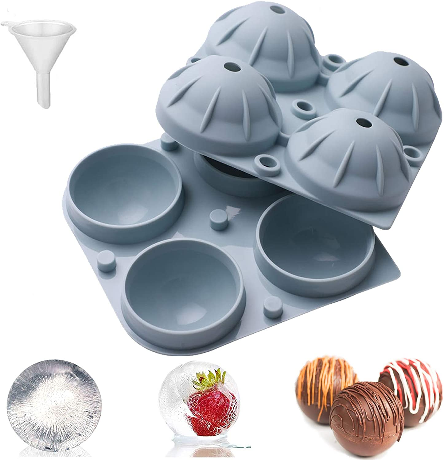 Silicone Ice Sphere Mold, Sphere Whiskey Ice Ball Maker Mold Easy Release Food Grade Flexible Round Ice Cube Mold 4 Cavity with Lids for Whiskey, Cocktails, Fruit Drinks Reusable and Easy to clean