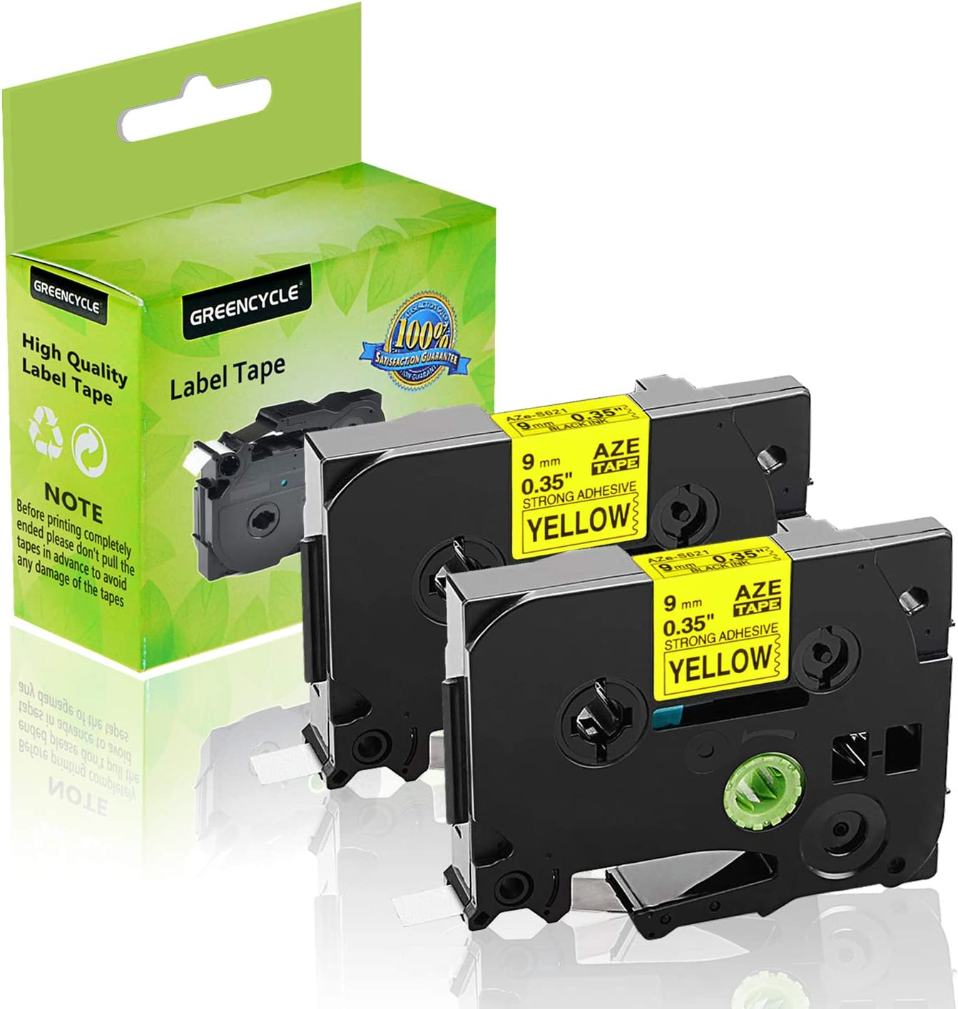 GREENCYCLE 2 Pack Compatible for Brother TZe-S621 TZeS621 TZ-S621 Black on Yellow Laminated Extra Strength Label Tapes use with P-Touch PT-D210 D400AD P900W P750W Label Makers 3//8 9mm X 26.2ft 8m