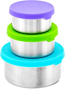 WEESPROUT 18/8 Stainless Steel Food Storage Containers | Set of 3 Metal Food Storage Containers (150 ml, 200 ml, 400 ml) | Leakproof Silicone Lids | Easy to Open | Durable | Snacks, Lunches, Sauces