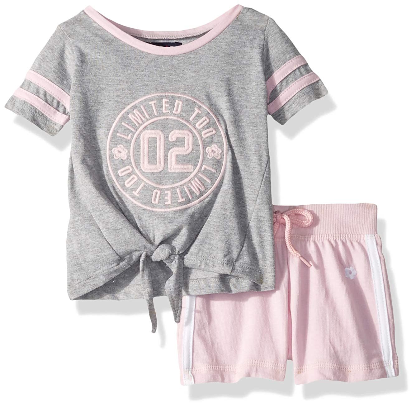 Limited Too Baby Girls Sleeve Varsity T-Shirt and Pull-on Short Set