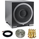 Elac Debut Series S10EQ 400W Powered Subwoofer DS10EQ1-BK with Bluetooth Control (DS10EQ1-BK) with 15FT Coaxial Cable, 16 Gauge 100 ft Speaker Wire, Brass Speaker Banana Plugs 5-Pair