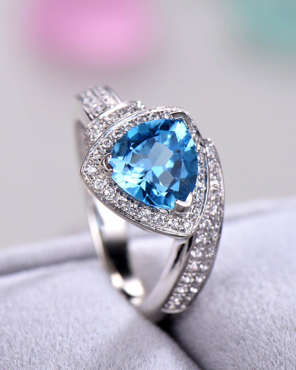 Blue Topaz Wedding Ring Trillion Cut 925 Sterling Silver White Gold CZ Diamond Halo Unique Engagement Set by Milejewel Topaz Engagement Ring (Image #2)