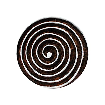 Wooden Textile Block Stamp Spiral Print Decorative Fabric Handmade Apparel Art