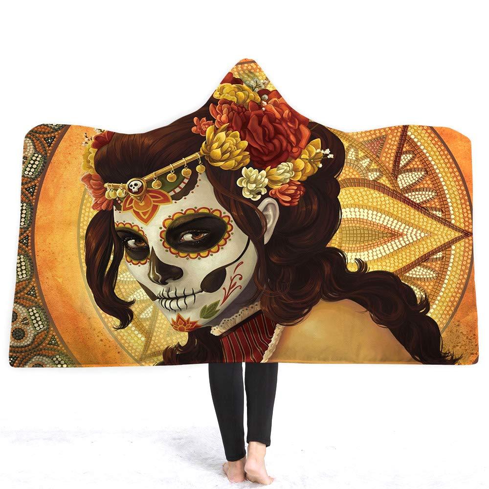 Amazon.com: Hooded Blanket Flowery Skull Blanket Microfibre ...