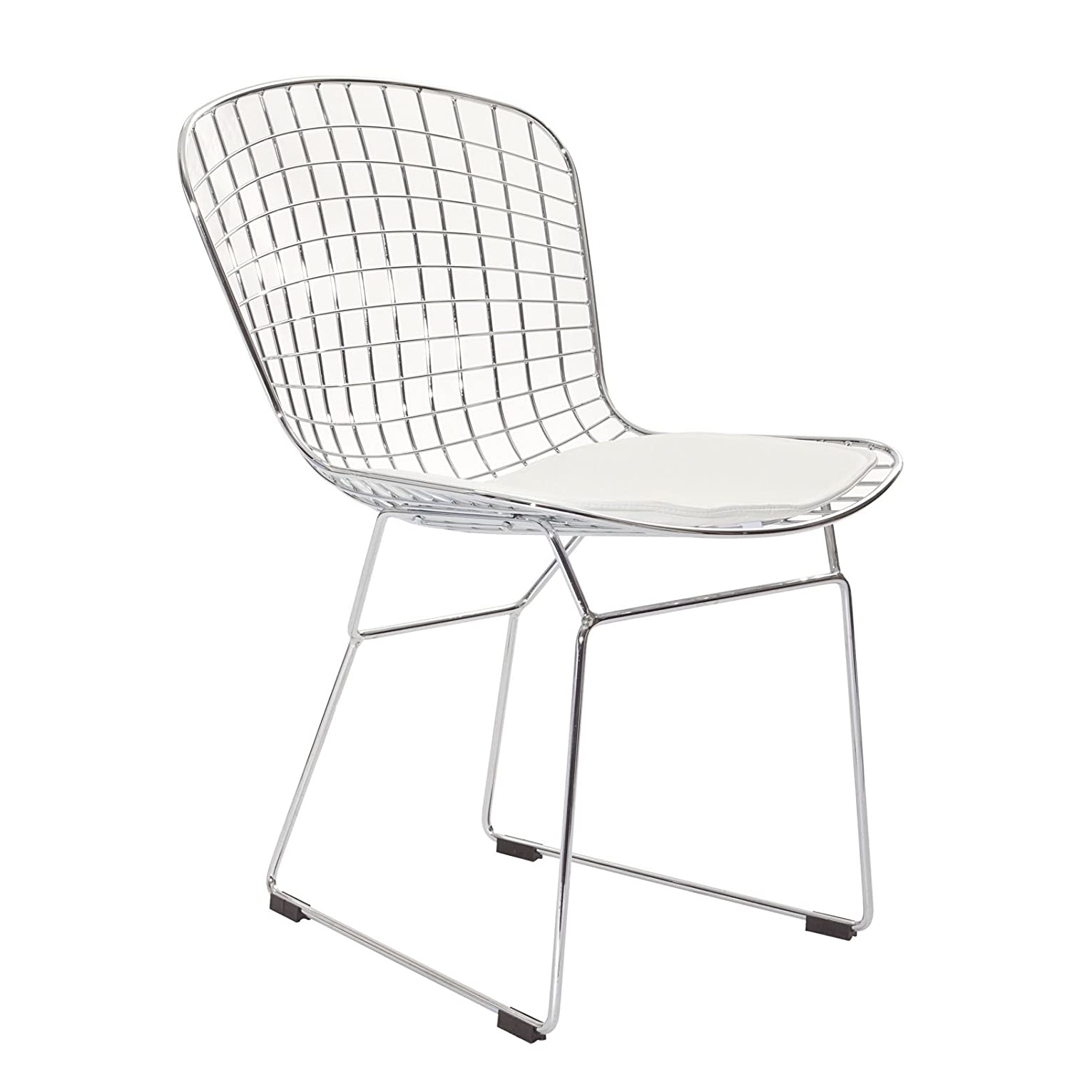 Bertoia chair white - Amazon Com Modway Bertoia Style Side Chair With White Cushion Chairs
