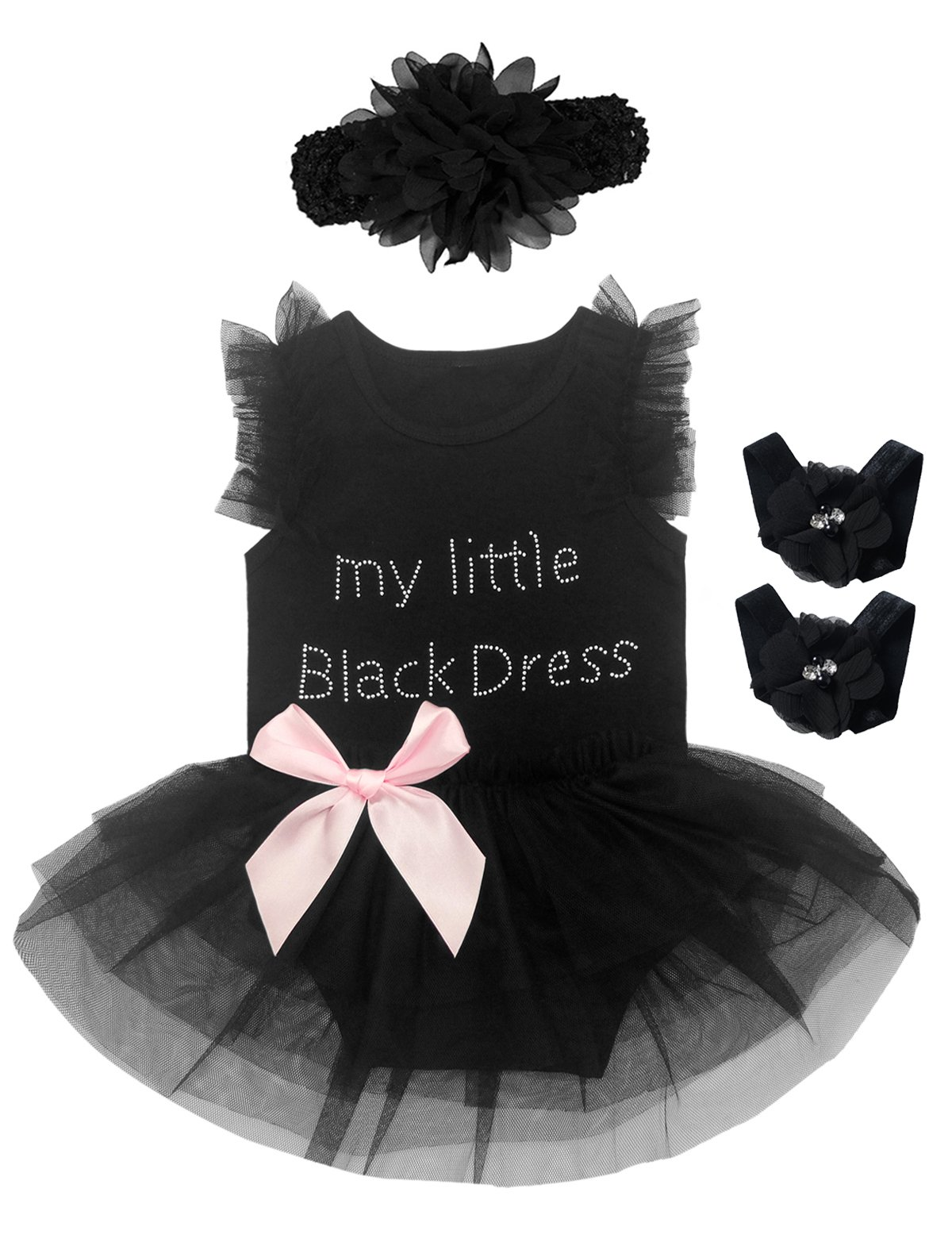 3 Pieces Baby Girls' Little Black Dress Romper with Headband and Foot Jewelry (3-6 Months, Black)