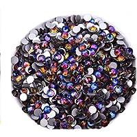 Jollin Glue Fix Flatback Rhinestones Glass Diamantes Gems For Nail Art Crafts Decorations Clothes Shoes 4.8mm (SS20 576pcs, Blue Blaze)
