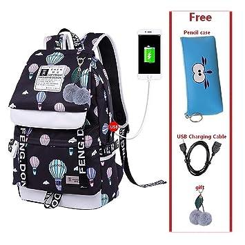 Amazon.com: Female student school bag waterproof USB Laptop ...