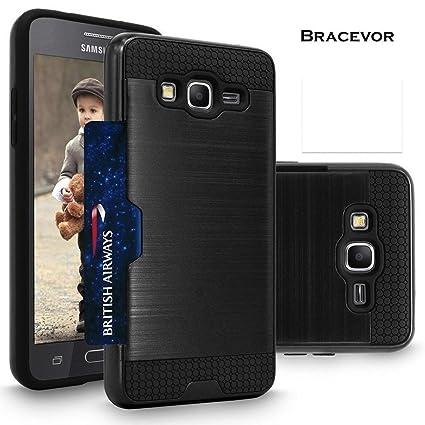 size 40 0501a c0cc6 Samsung Galaxy E5 Back Case Cover [Bracevor] - Shock Proof, Shock Proof,  Anti Slip, Shimmer Protective Grip Back Cover - Jet Black