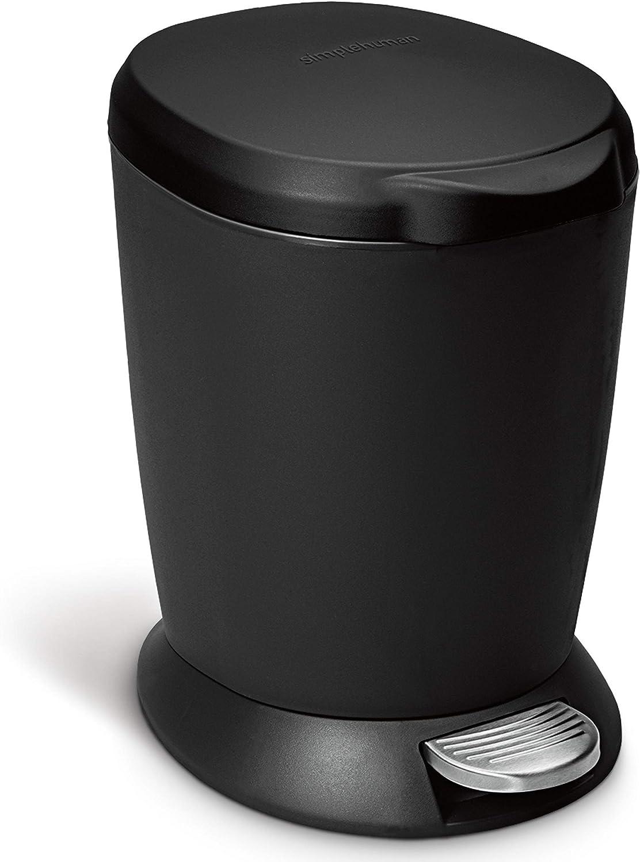 simplehuman 6 Liter / 1.6 Gallon Compact Plastic Round Bathroom Step Trash Can, Black Plastic: Home & Kitchen