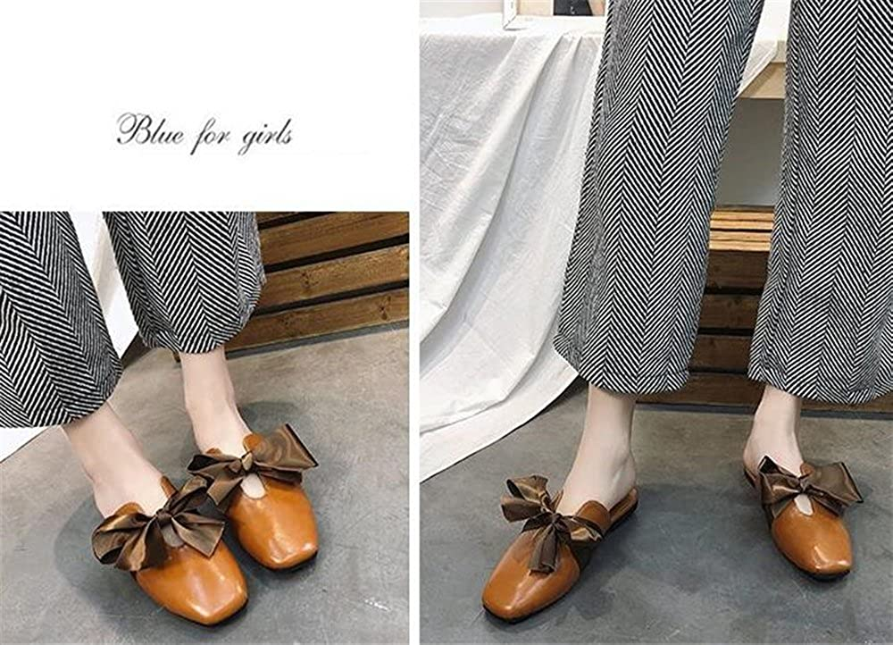 F1rst Rate Womens Leather Casual Slip-On Outdoor Scuff Backless Slipper Mule Loafer Flats Shoes