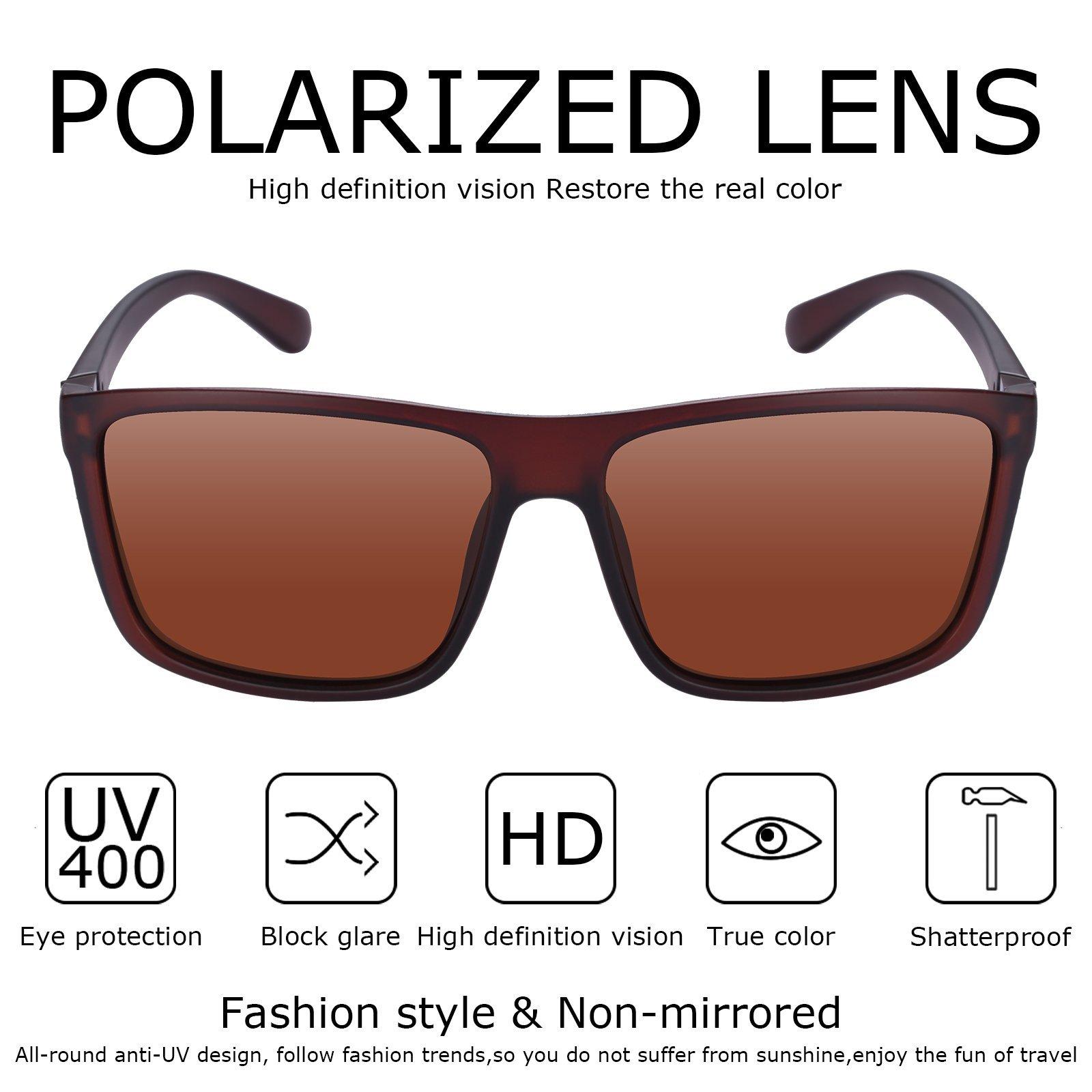 Polarized Sunglasses for Men Driving, Unisex Sun Glasses Square Vintage 100% UV Protection Glasses for Men/Women (Brown)