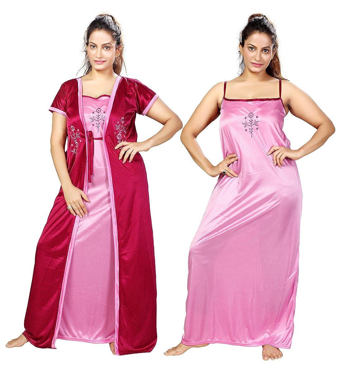 Mahaarani fancy nighty night wear sleep wear with robe for women clothing  accessories jpg 1100x1200 Fancy 90b45a688