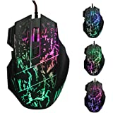 USB Gaming Mouse 5500 DPI Wired with 7 Colors LED Professional Optical Gamer Mice for Laptops Desktops Computer (7 Button)