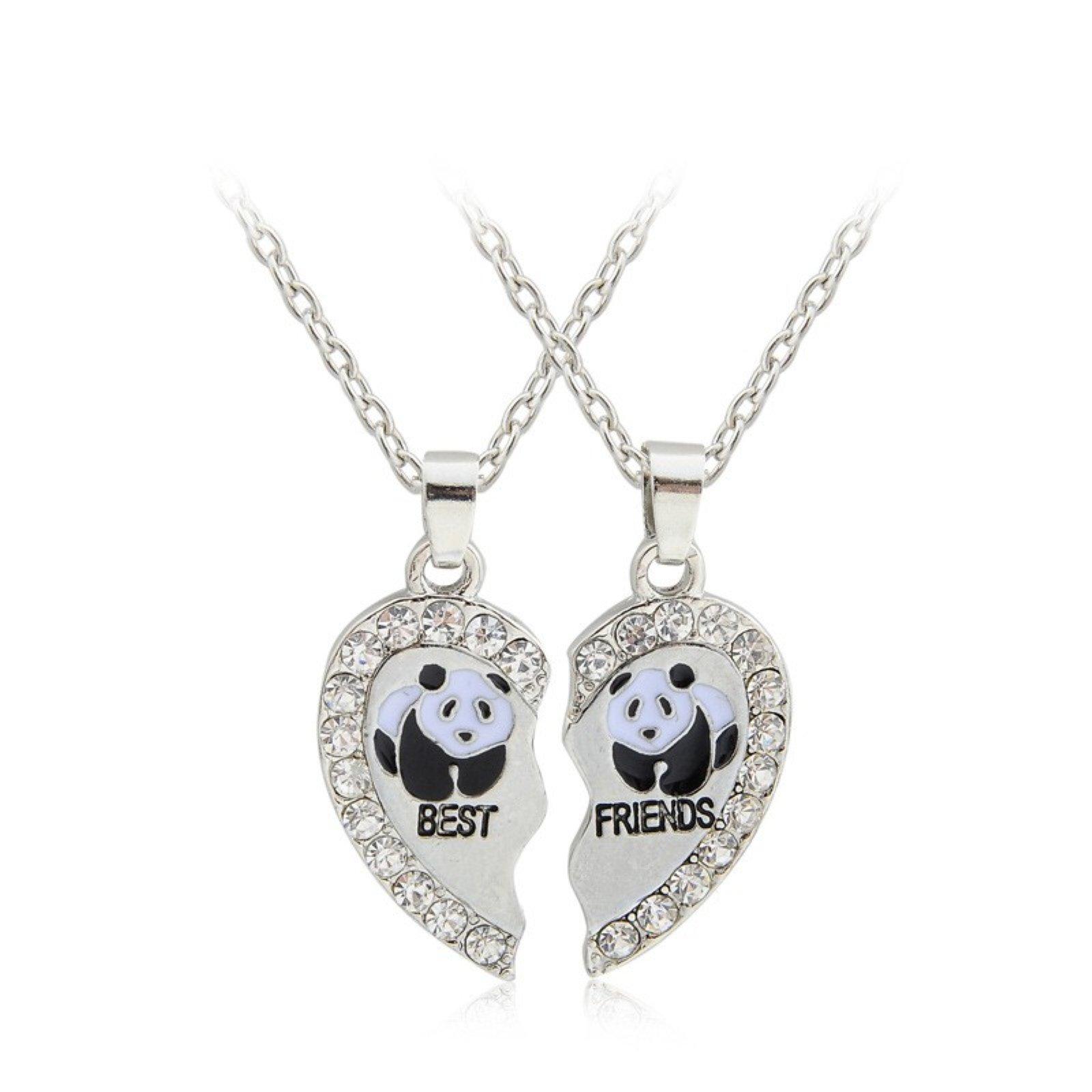 ptk12 Broken Heart 2 Parts Animal Panda best friend Austria Crystal Love Rhinestone Pendant