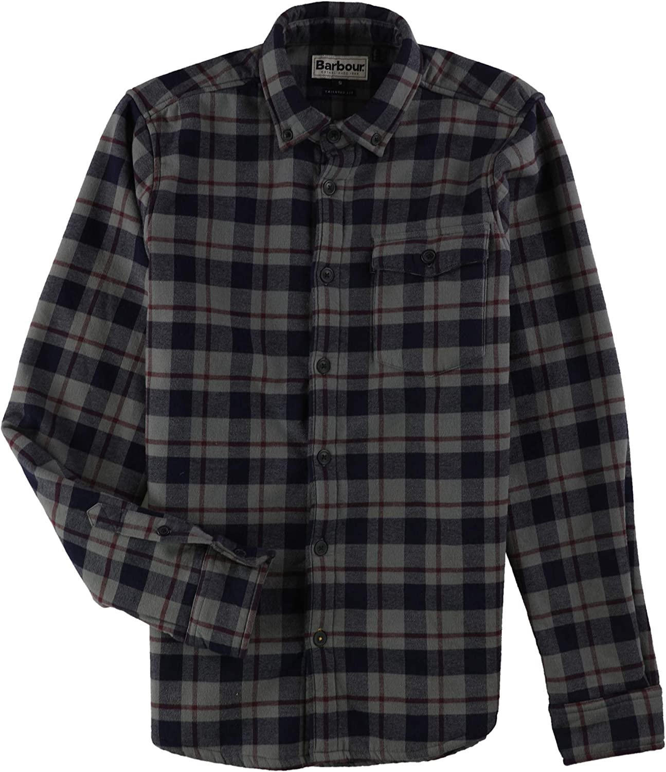 Long Sleeve with Lined Collar M-2XL Plaid Flannel Shirt for Men Button Front