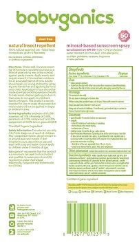 Babyganics Baby Sunscreen Spray SPF 50, 6oz Spray Bottle + Natural Bug Spray 6oz Spray Bottle Combo Pack