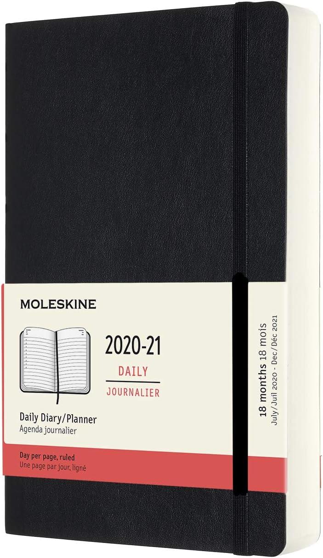 Moleskine - Agenda 2020/2021 un Día por Página, Agenda de 18 Meses, Planificador Diario con Tapa Dura y Cierre Elástico, Tamaño Grande 13 x 21 cm, Negro, 608 Páginas