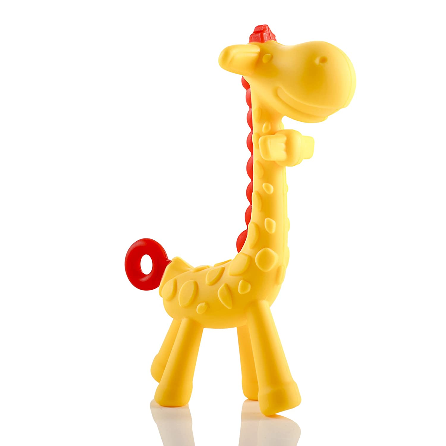 da3821539cd Giraffe Baby Teether Toy | Natural & Organic BPA-Free Silicone | Textured  Infant Teething Relief |...