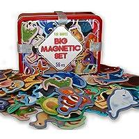 MAGDUM 56 Set Animales en Caja de Lata de Regalo-imanes de bebé Realistas-56 Grandes Juguetes magnéticos Mundo Animal…