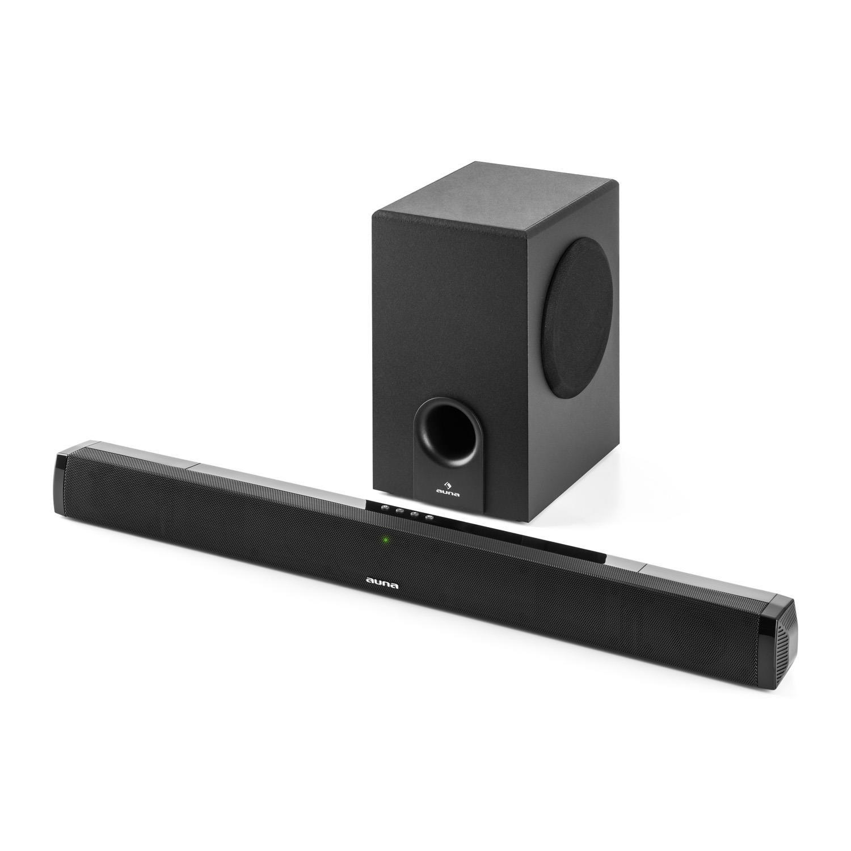 Equipo de Sonido 2.1 Bluetooth Mando a Distancia para TV USB HDMI-ARC AUX Sobremesa o en la Pared Barra de Sonido con subwoofer Negro Potencia Media de 120 W auna Areal Bar 650