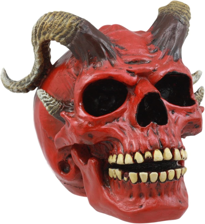 "Ebros Day of The Dead El Diablo Horned Devil Skull Figurine Hell Spawned Imp Demon Skull Statue 5"" L"