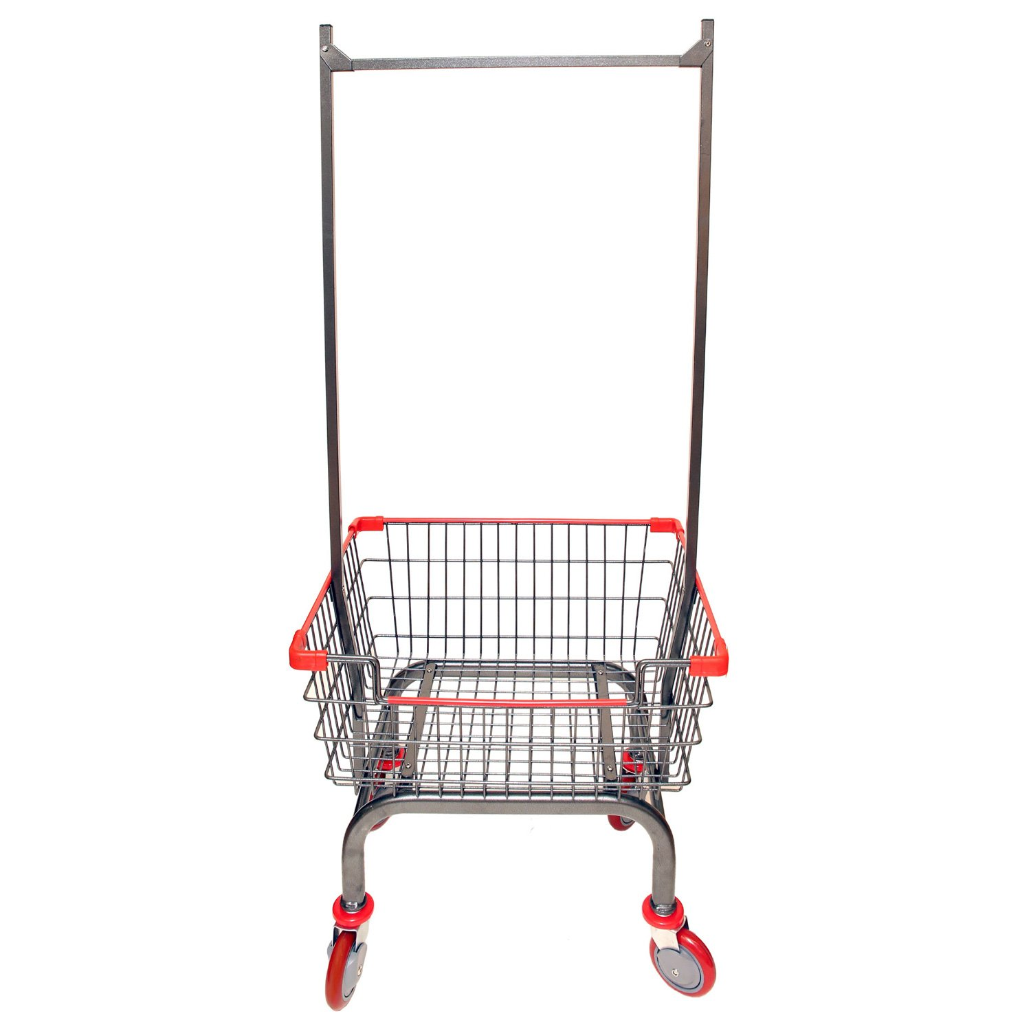 CART&SUPPLY Coin Laundry Cart, [Heavy Duty][Rolling Cart] Laundry Cart with Double Pole Rack [Charcoal Gray]