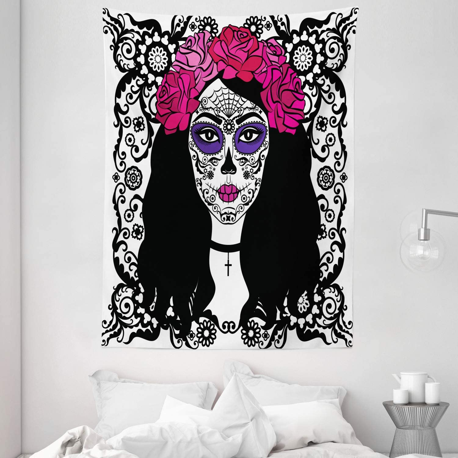 Amazon Com Ambesonne Sugar Skull Tapestry Girl With Sugar Skull