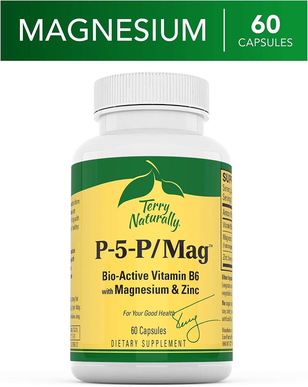 Terry Naturally P-5-P/MAG - 60 Vegan Capsules - Vitamin B6 (Pyridoxal-5-Phosphate), Zinc & Magnesium Supplement, Supports Heart Health - Non-GMO, Gluten-Free, Kosher - 60 Servings