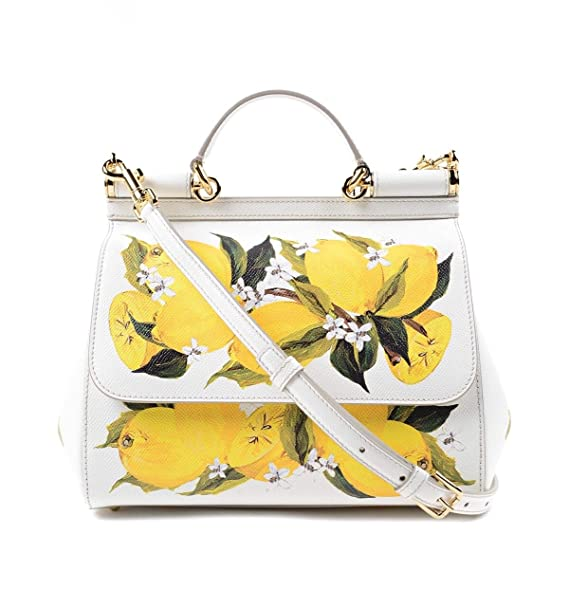 DOLCE   GABBANA Miss Sicily Floral Lemon Print White Dauphine Leather  Medium Bag Handbag Purse Tote  Amazon.ca  Clothing   Accessories bc80141df7