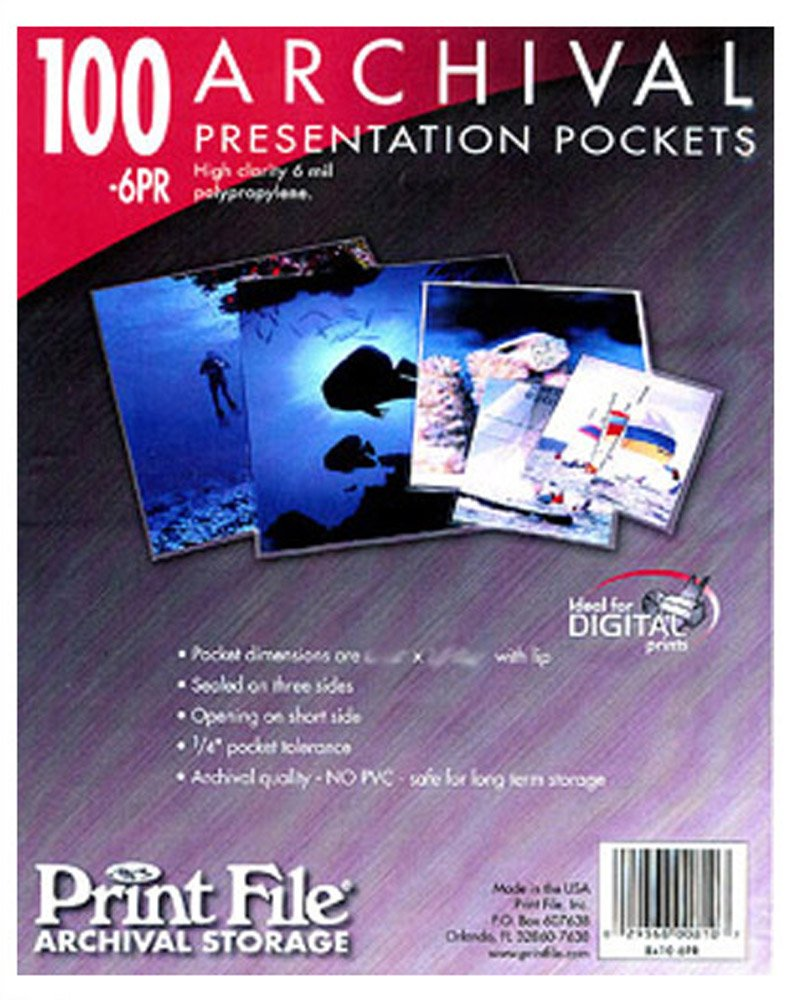 Print File 6-mil Polypropylene Presentation Pockets, 8x10''-100, (8x10-6PR-100) by Print File