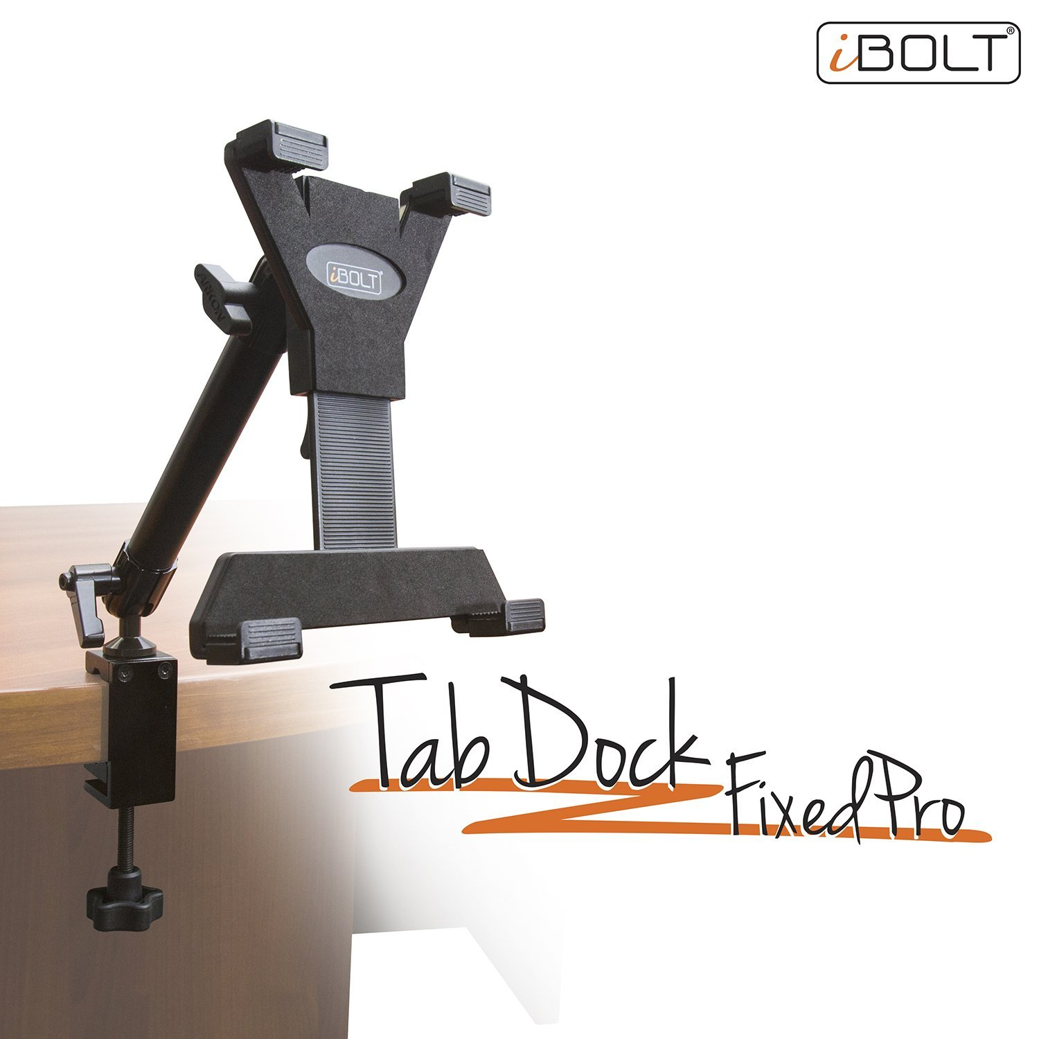 iBOLT TabDock FixedPro Clamp- Heavy Duty Metal C-Clamp mount for all 7'' - 10'' tablets ( iPad , Nexus, Samsung Tab ) For Desks, Tables, Wheelchairs, Carts, etc : Great For Homes, Schools, and Offices