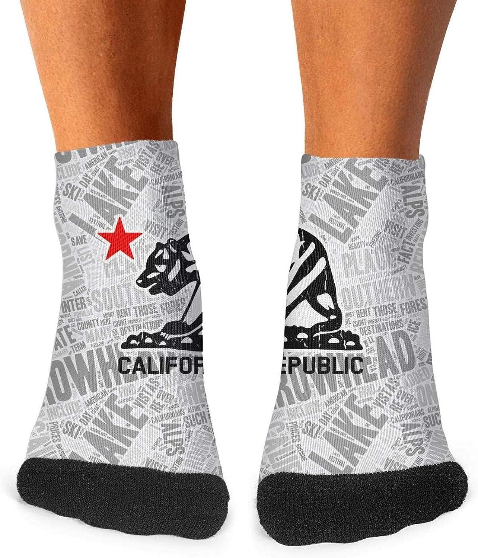 Floowyerion Mens I Love You California Bear Novelty Sports Socks Crazy Funny Crew Tube Socks