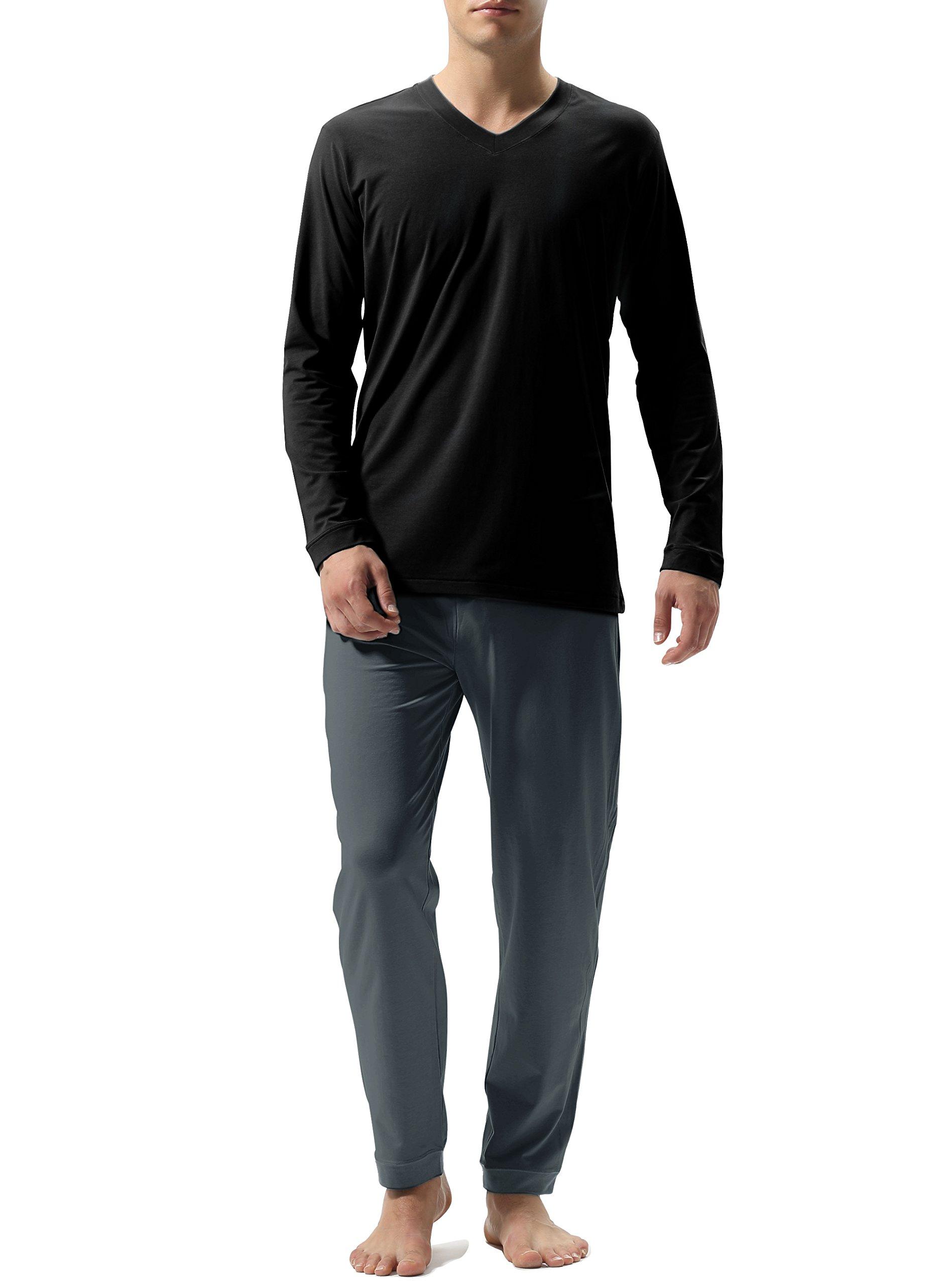 David Archy Men's Cotton Long Sleeve Sleep Top And Bottom Pajama Set (L, Black-Gray)