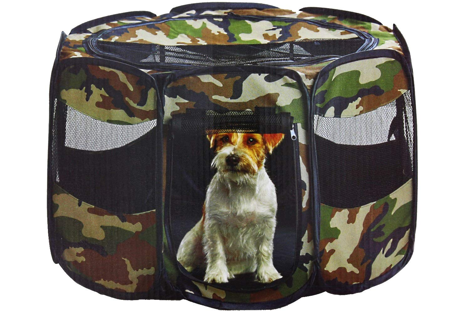 Etna Camouflage Portable Pet Play Pen Keeps Pets Safe, Secure, Comfortable Indoors & Outdoors (Small)