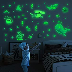 Marsway Glow in The Dark Stickers Luminous Ocean Whale Shark Turtle Wall Decor for Room Bedroom Ceiling Gifts for Kids Girls Boys Underwater World