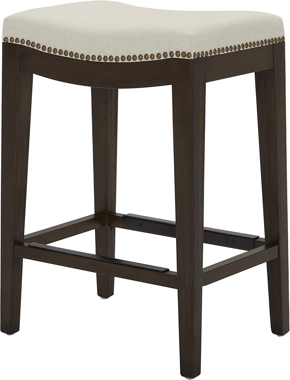 "Amazon Brand – Stone & Beam Elden Nailhead-Trim Saddle Kitchen Counter Height Backless Stool, 26""H, Chalk"