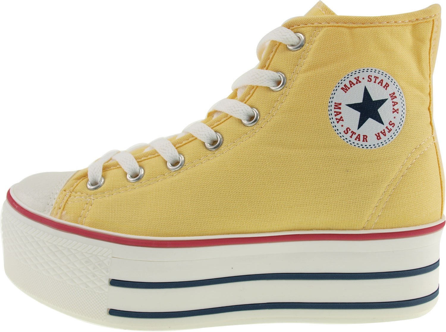 Maxstar Women's C50 7 Holes Zipper Platform Canvas High Top Sneakers B00CHVUVWM 8.5 B(M) US|Yellow