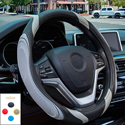 XCBYT Car Steering Wheel Cover, Sports Design Non-Slip Particles Breathable Steering Wheel Cover Not Easy to Wear Out (82grey): Automotive