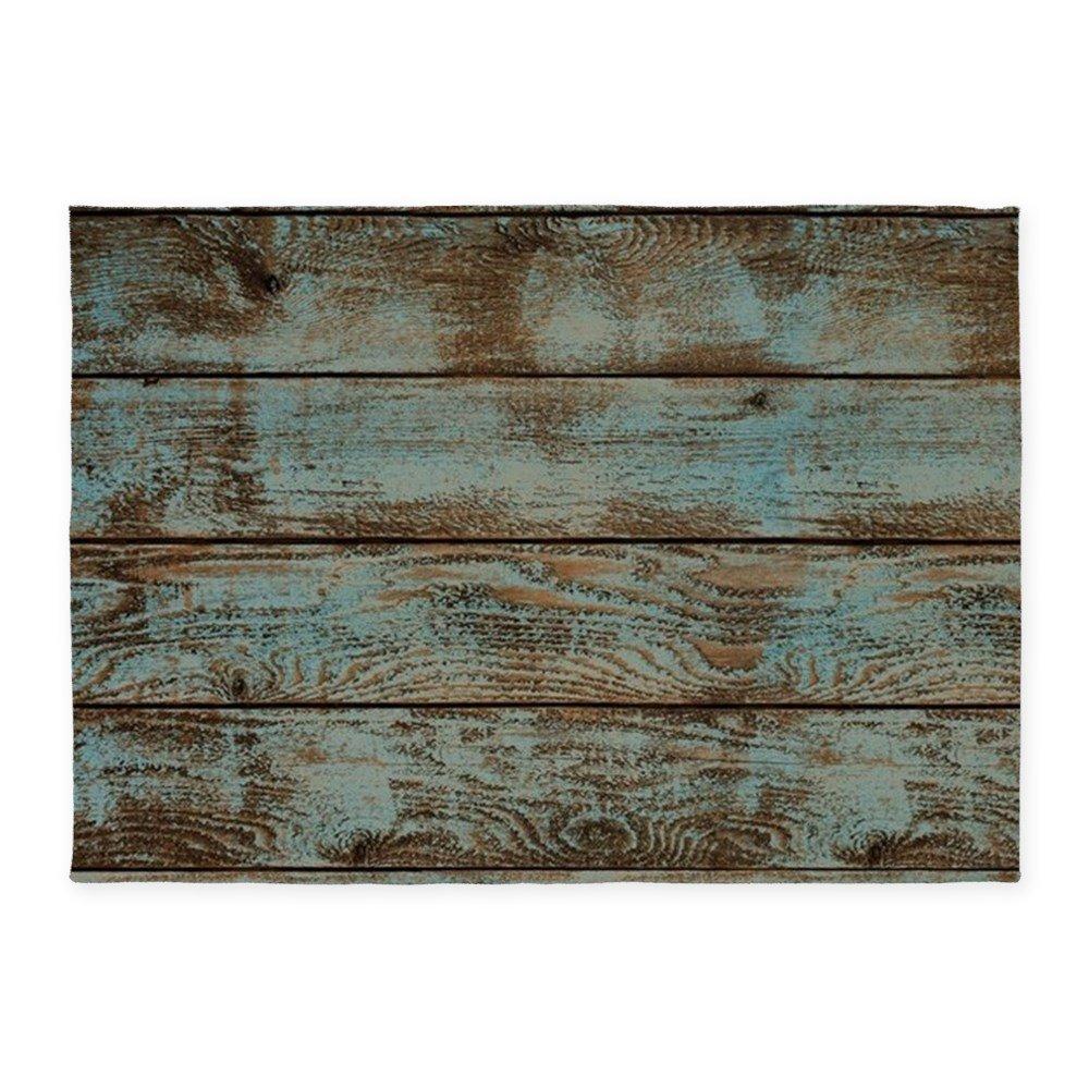 CafePress - Rustic Western Turquoise Barn Wood - Decorative Area Rug, 5'x7' Throw Rug