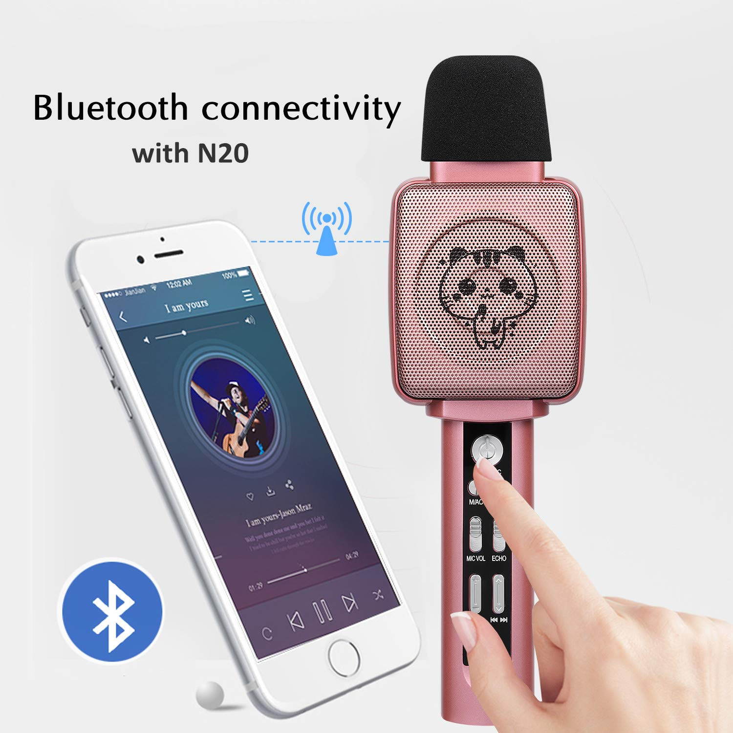 HOKLAN Kids Karaoke Microphone, Birthday Gifts for 3 4 5 6 7 8 9 Years Old Kids Girls, Birthday Presents & Toys for Children, Handheld Bluetooth Karaoke Machine with Voice Changer & Built-in Speaker by HOKLAN (Image #6)