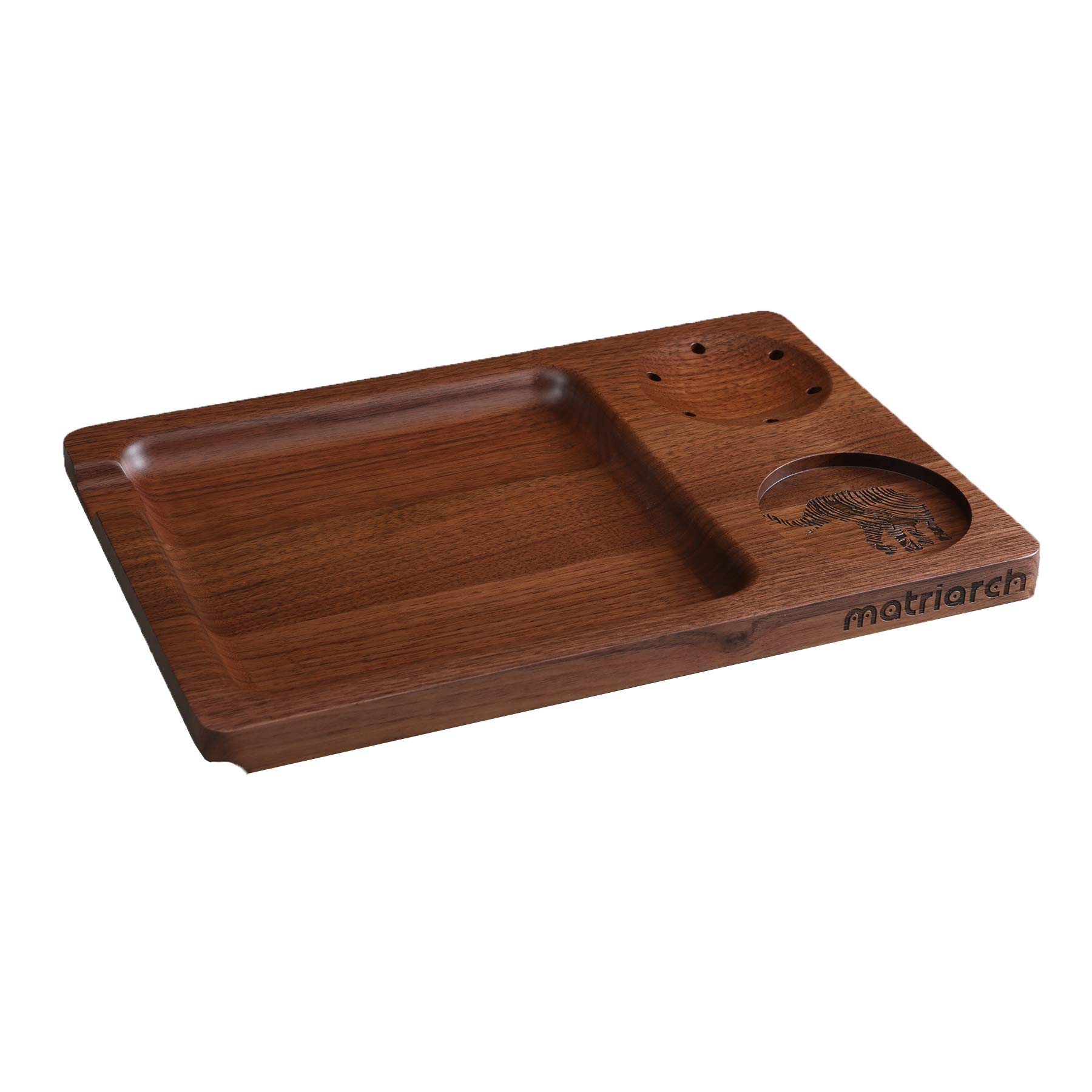 Matriarch's Classic Black Walnut Wood Rolling Tray - Grinder Holder - Versatile Stash Jar/Filter Tip Base - 12'' x 8'' x 0.75'' by Matriarch.LA