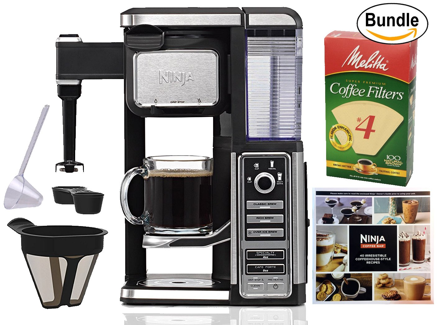 Ninja Coffee Bar Single-Serve System (CF111), Melitta Cone Coffee Filters, Natural Brown, No. 4, 100-Count Filters & Zonoz One-Tablespoon Plastic Clever Scoop (Bundle) by NinjaShark (Image #1)