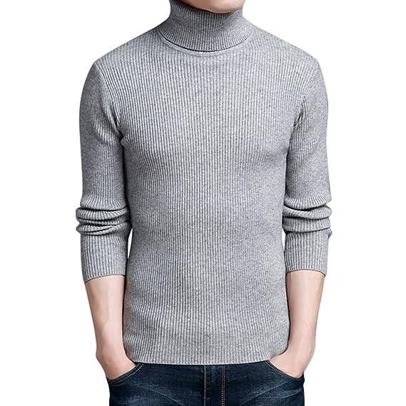 Bold Manner Pull-Over Homme Manches Longues CoL Roulé Serré Hiver Chaud  Sweater Maille Côtelé e9dce09dc366
