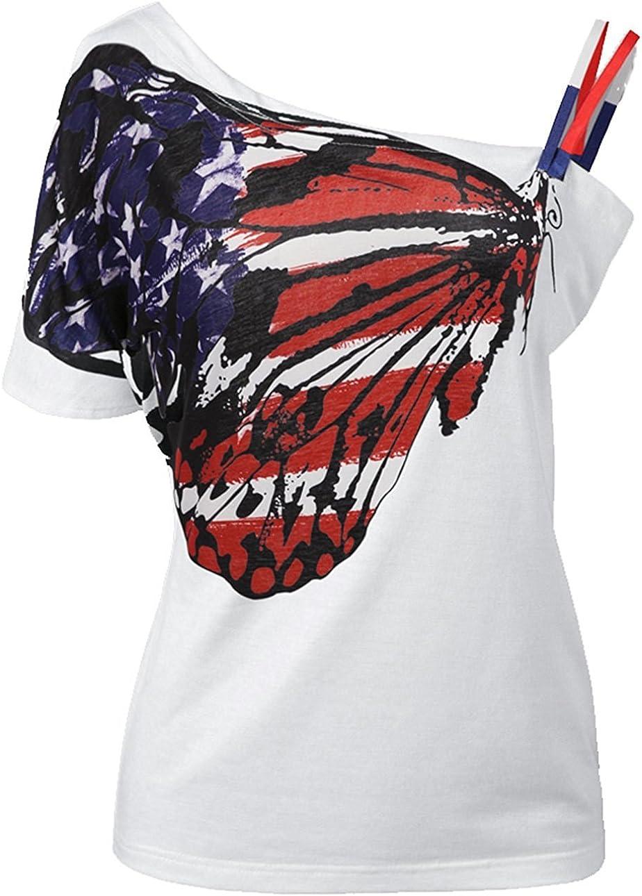 Minetom Mujeres Camiseta Modelo de Mariposa Chic Atractivas del Verano del Hombro de Manga Corta Ocasional T-Shirt Blusa Tops: Amazon.es: Ropa y accesorios