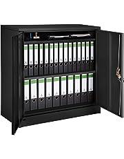 TecTake 800598 - Armario Archivador Negro, Armario de Almacenaje, de Acero, Armario de Puertas Batientes - Varios Modelos (Type 3 | 402941)