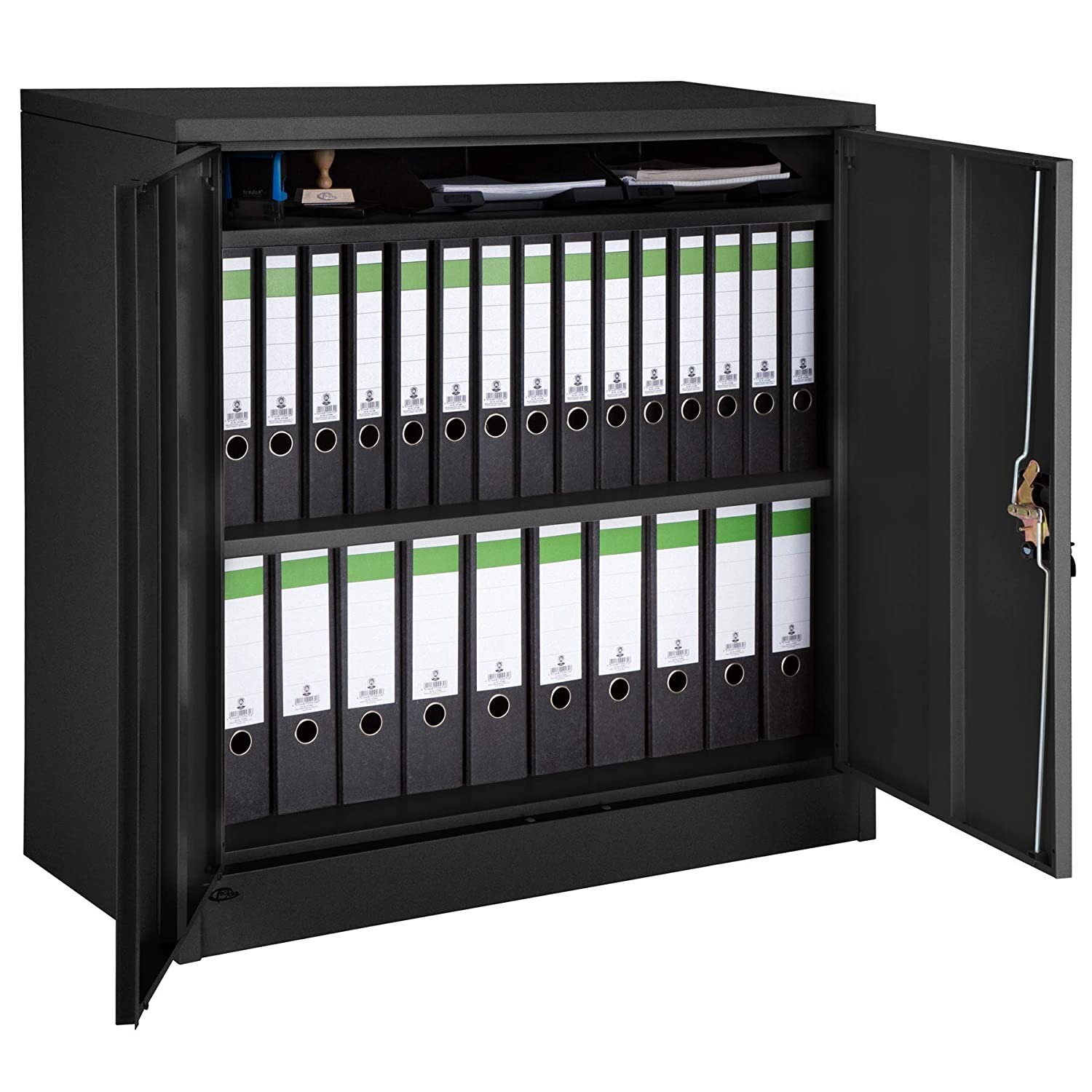 TecTake 800598 - Filing cabinet black, Shelves 2-door and Lock system - Different Models (Type 1 | No. 402937)