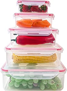 5PCS Food Storage Containers with Lids @ Airtight Leak Proof Easy Snap Lock and BPA-Free Plastic Container Set @ Plastic Food Containers with Lids @ Plastic Containers with Lids (RED)
