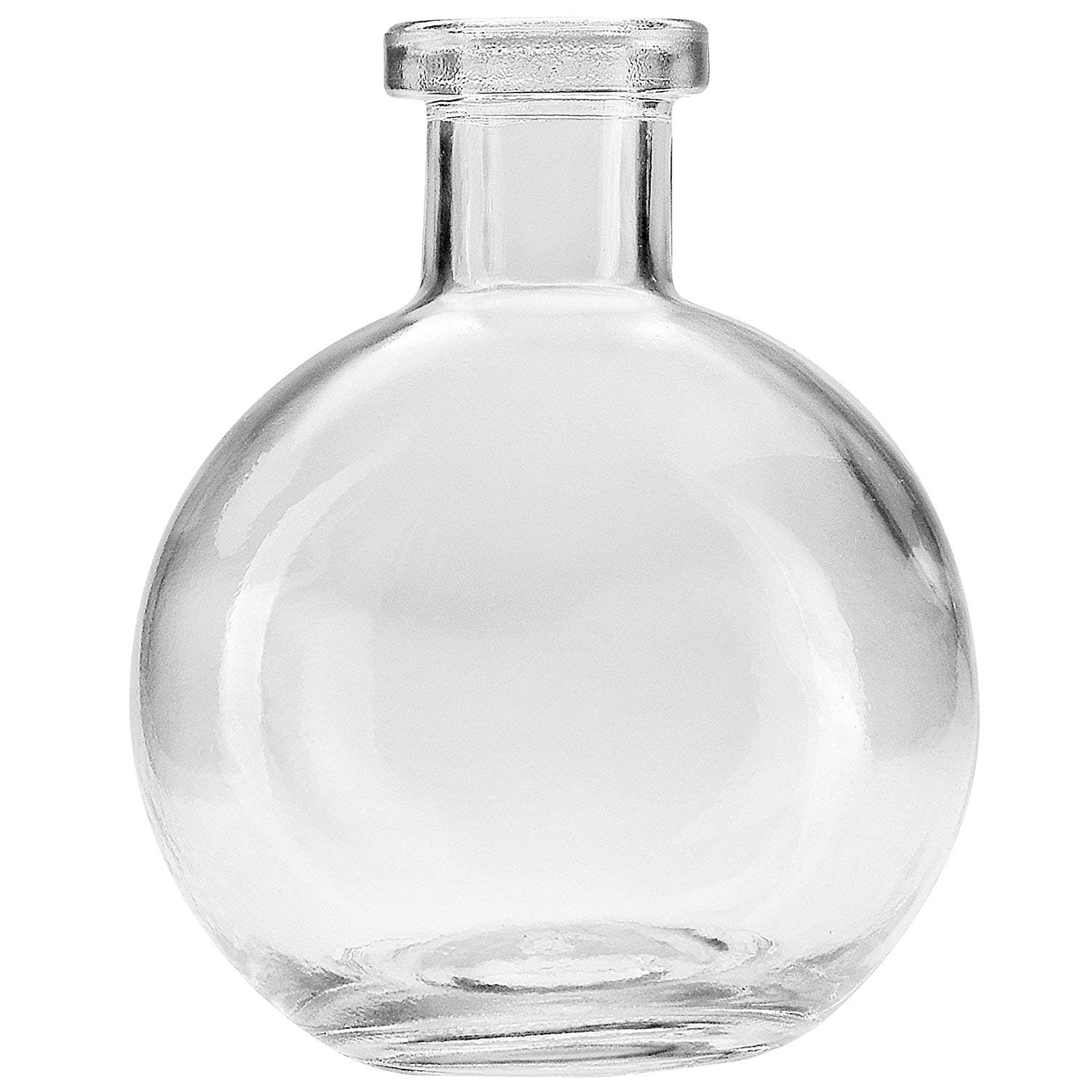Koyal Wholesale Glass Bud Vases, Home Decor Vases, Floral Containers (Round, 4-inch)