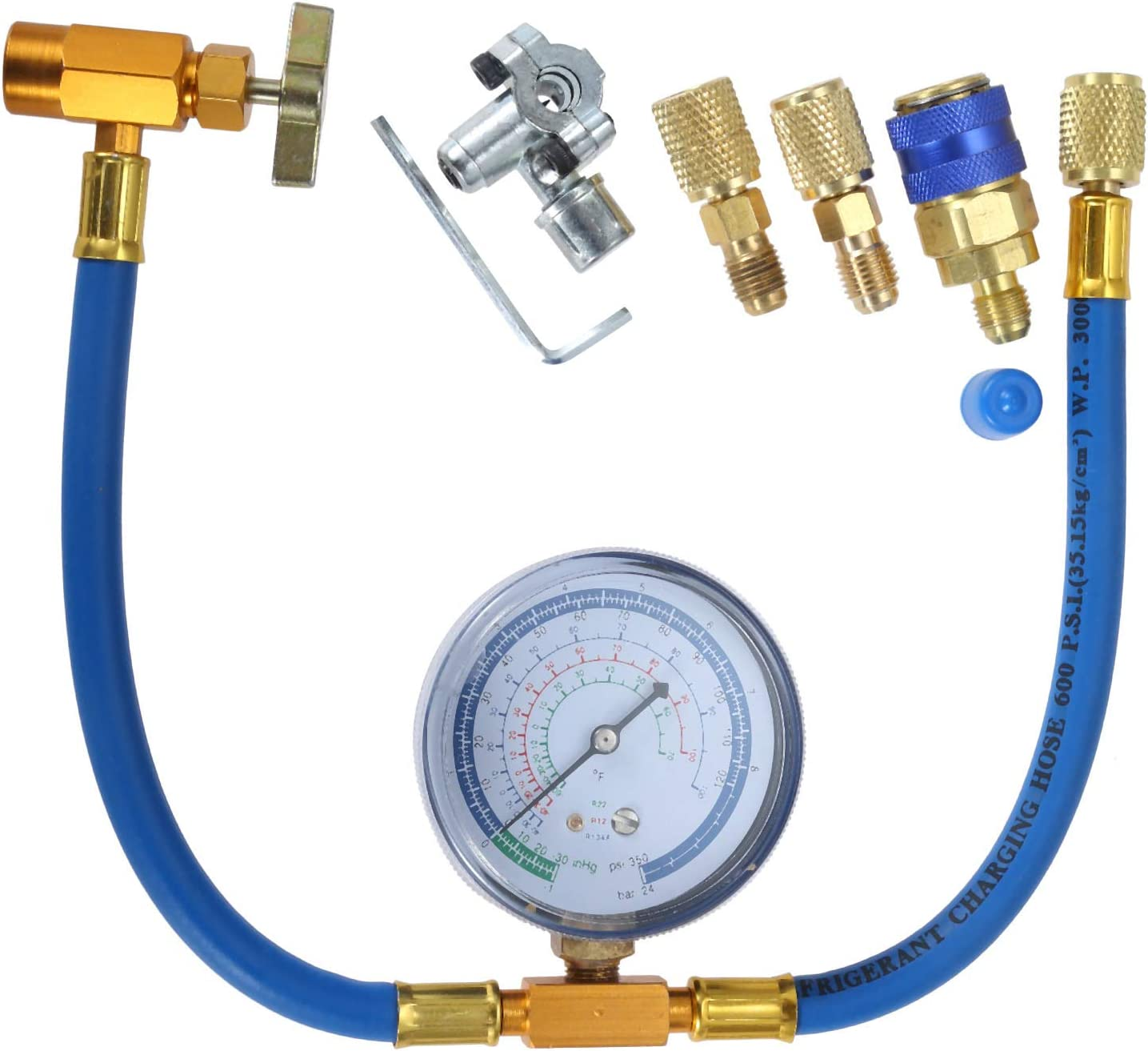 """Refrigerant R134a Can Tap to R-12//R-22 Port 1//4 Male Connector Kit and BPV31 Piercing Valve with 2.75/"""" Air Conditioning Gauge Removable R134a Quick Couple R134a Charging Hose to Refrigerator"""